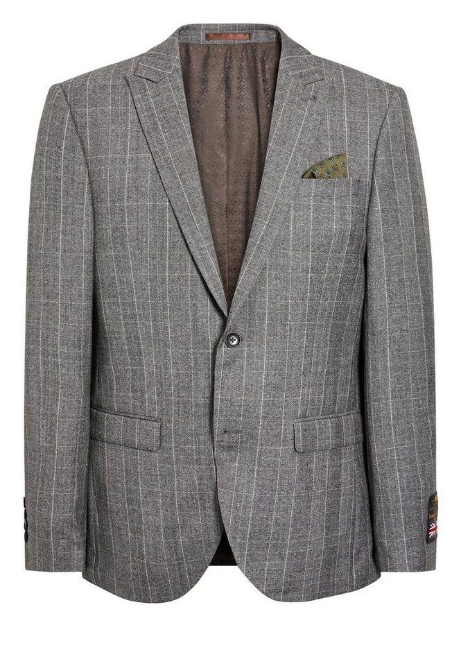 Next Glencheck-Baukastensakko aus englischem Wollstoff in Light Grey Tailored-Fit