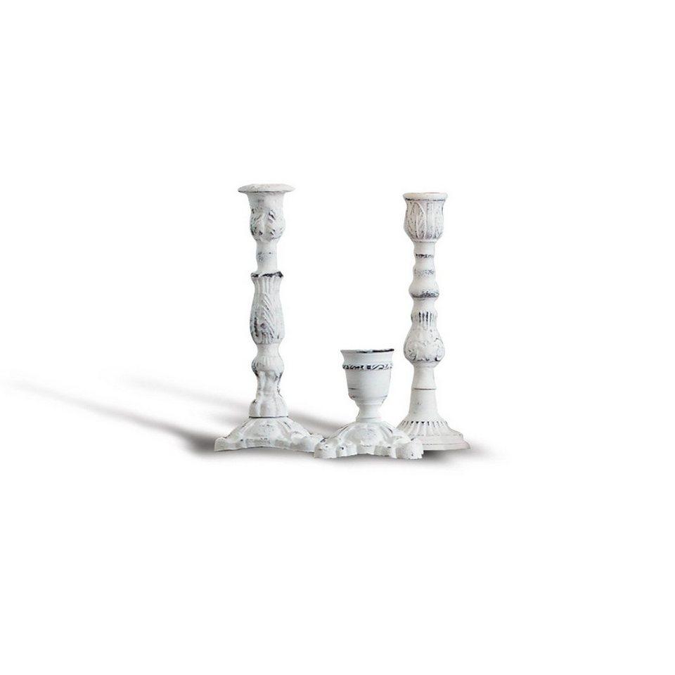 Loberon Kerzenständer 3er Set »Blanchette« in antikweiß