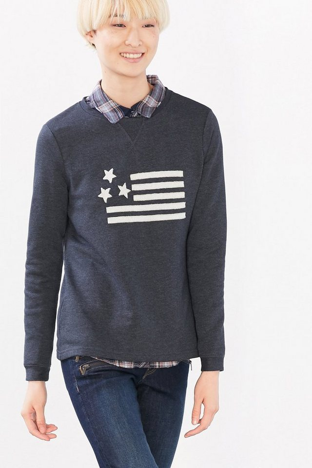 EDC Meliertes Sweatshirt mit Applikation in NAVY