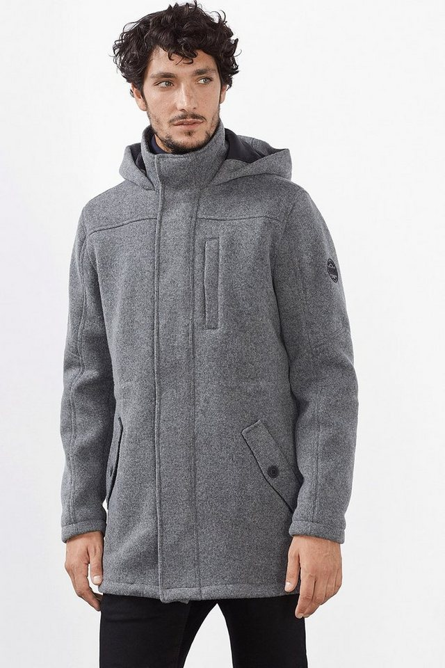 EDC Wattierte Woll-Mix Jacke aus Strick in DARK GREY