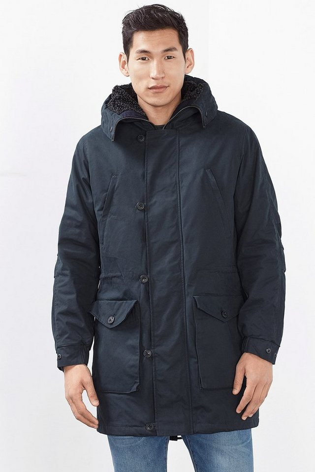 ESPRIT CASUAL Baumwoll-Mix Parka mit Teddy-Futter in NAVY