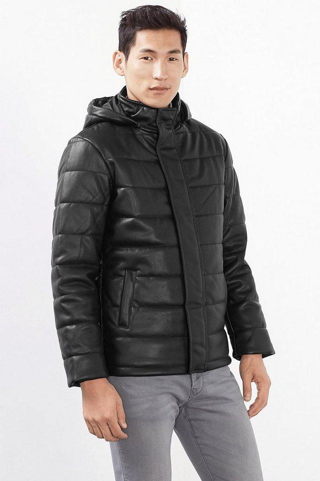 ESPRIT CASUAL Wattierte Jacke aus Material in Lederoptik in BLACK