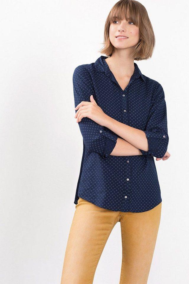 ESPRIT CASUAL Print-Bluse aus leichtem Baumwoll-Mix in NAVY