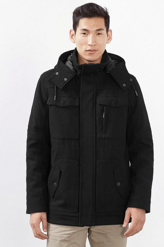 EDC Field Jacke aus wattiertem Woll-Mix in BLACK