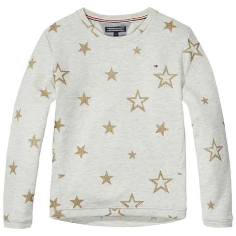Tommy Hilfiger Sweatshirt »STAR CN HWK L/S« in Warm Light Grey