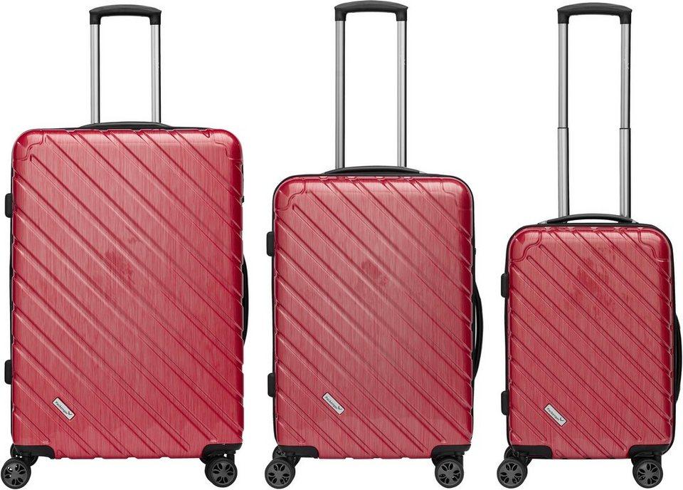 Packenger Hartschalentrolley Set mit 4 Rollen, »Vertical« (3tlg.) in rot