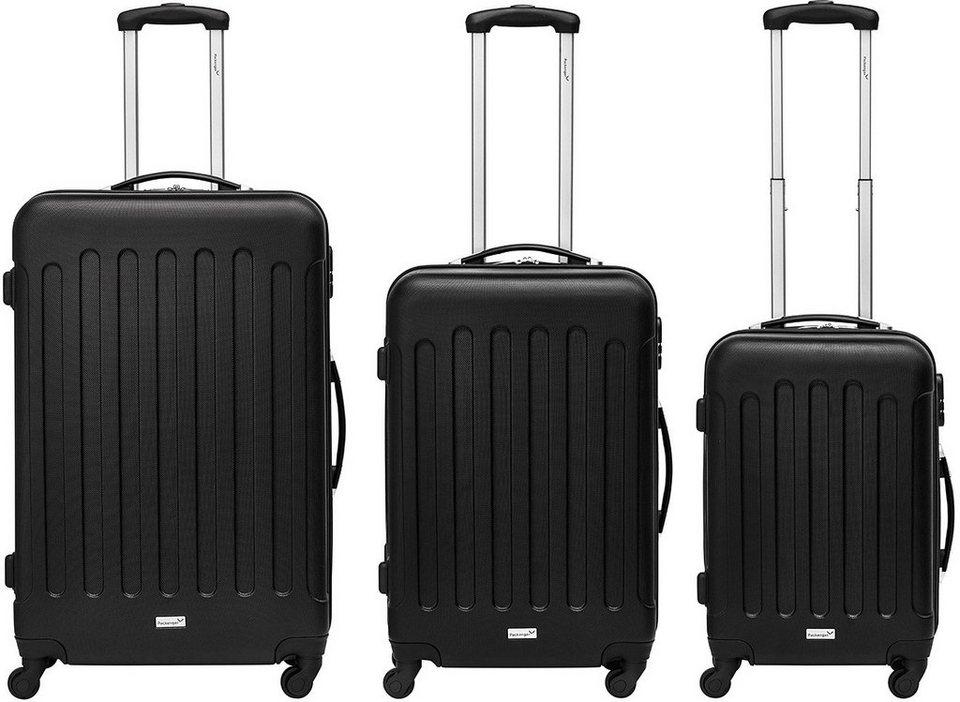 Packenger Hartschalentrolley Set mit 4 Rollen, »Travelstar« (3tlg.) in schwarz