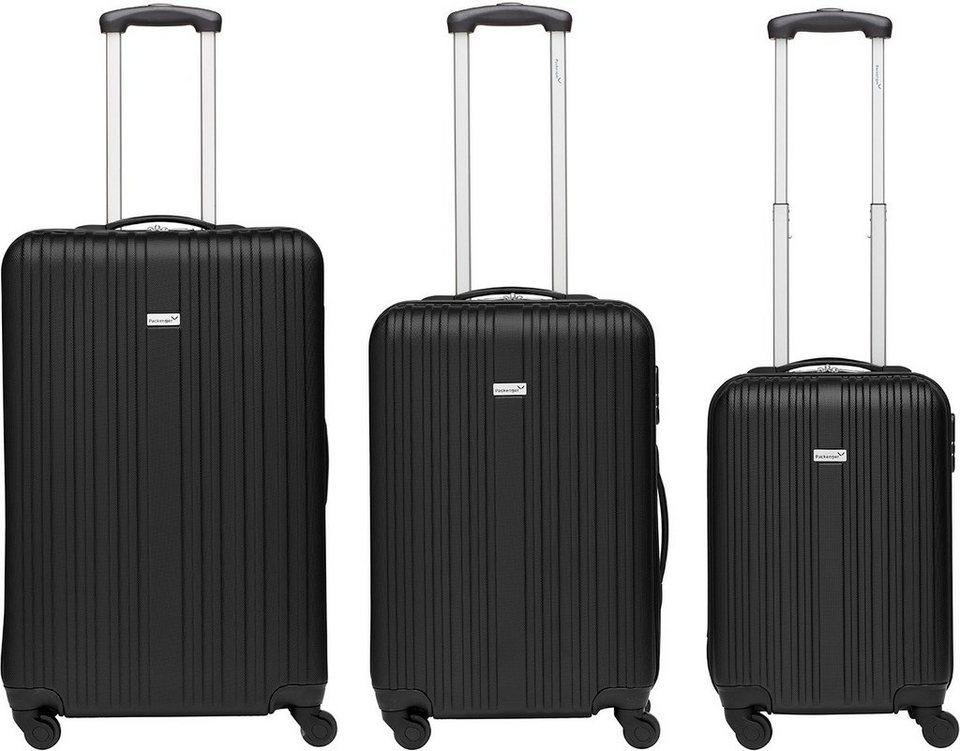 Packenger Hartschalentrolley Set mit 4 Rollen, »Line« (3tlg.) in schwarz