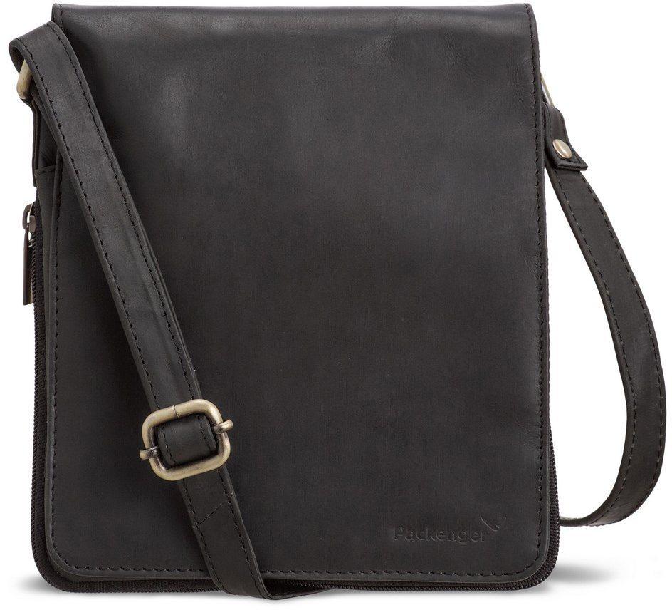 Packenger Umhängetasche, »Hjalti, schwarz« in schwarz