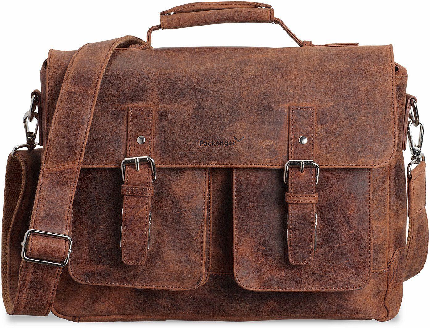 Packenger Umhängetasche mit 15-Zoll Laptopfach, »Kolbjorn, cognac«