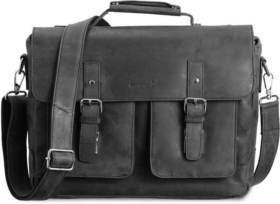 Packenger Umhängetasche mit 15-Zoll Laptopfach, »Kolbjorn, schwarz« in schwarz