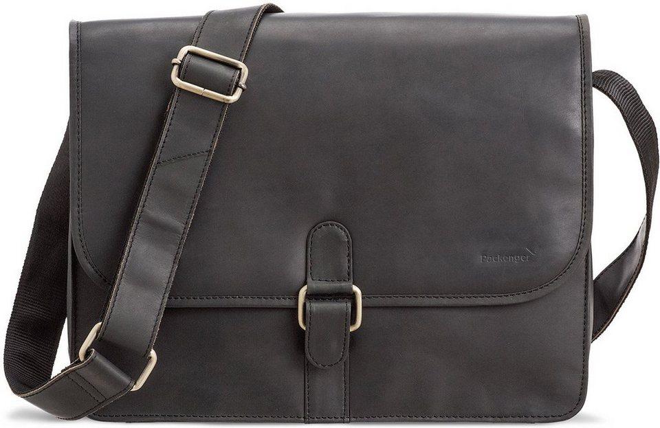 Packenger Umhängetasche mit 14-Zoll Laptopfach, »Aslang, schwarz« in schwarz