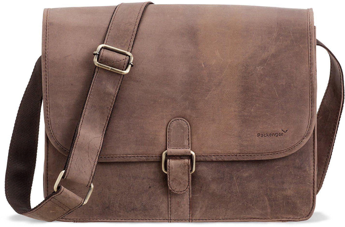 Packenger Umhängetasche mit 14-Zoll Laptopfach »Aslang, dunkelbraun«