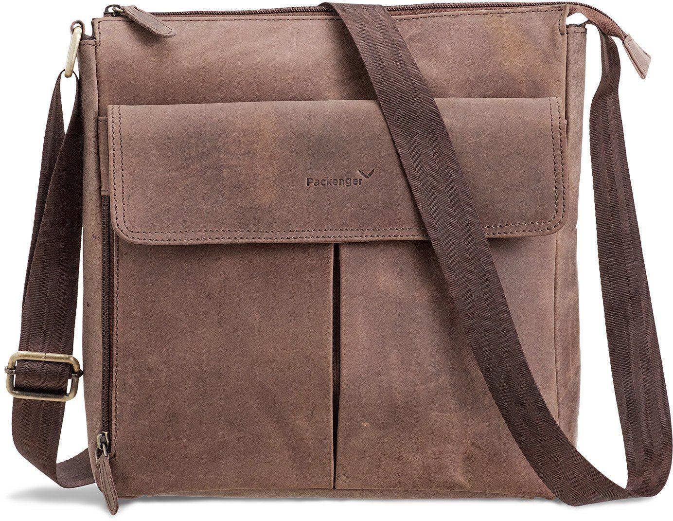 Packenger Messengerbag mit 12-Zoll Tablettasche, »Horik, dunkelbraun«