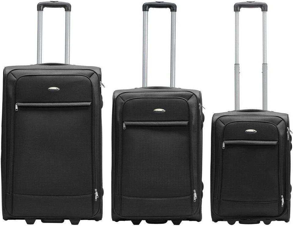 Packenger Weichgepäcktrolley Set mit 2 Rollen, »Lite Business Traveller« (3tlg.) in schwarz