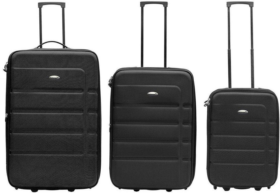 Packenger Weichgepäcktrolley Set mit 2 Rollen, »Easy Traveller« (3tlg.) in schwarz