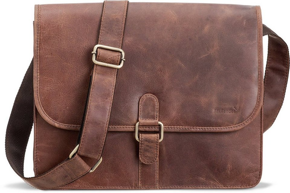 Packenger Umhängetasche mit 14-Zoll Laptopfach, »Aslang, braun« in braun
