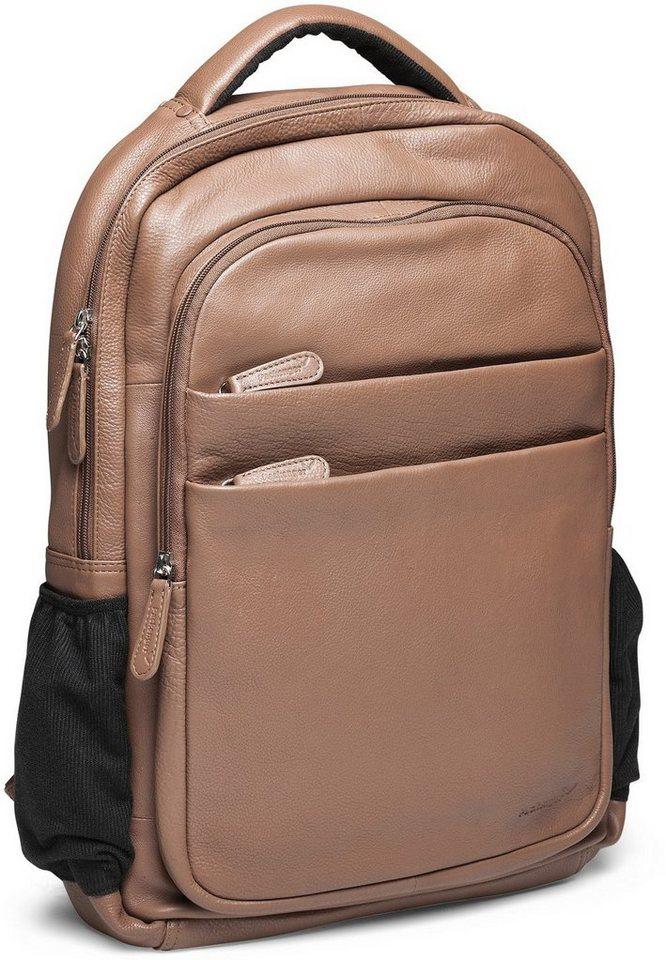 Packenger Rucksack mit 15-Zoll Laptoptasche, »Kjaran, hellbraun« in hellbraun