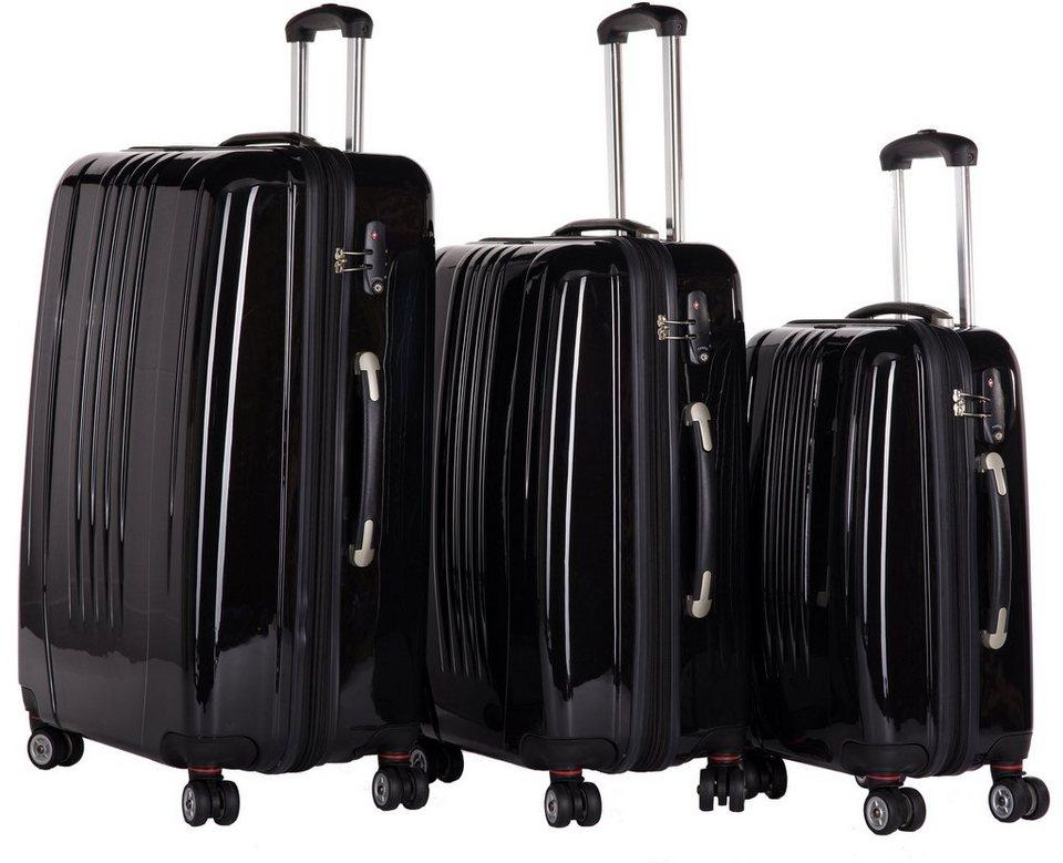 Packenger Hartschalentrolley Set mit 4 Rollen, »Stone« (3tlg.) in schwarz