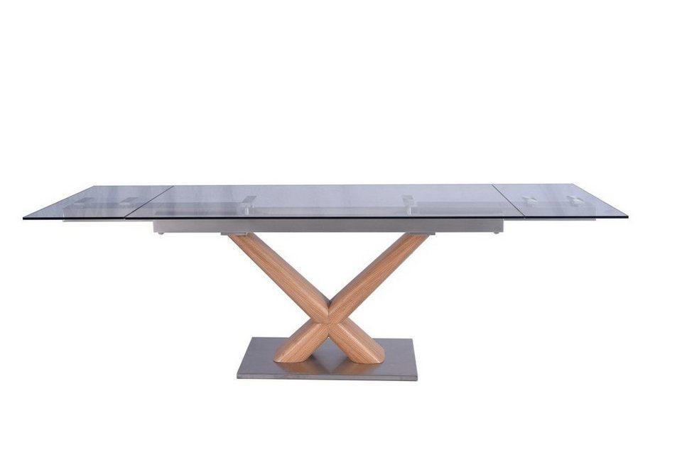Kasper-Wohndesign Esstisch aus Glas mit Holzgestell 160cm ausziehbar »GINO«