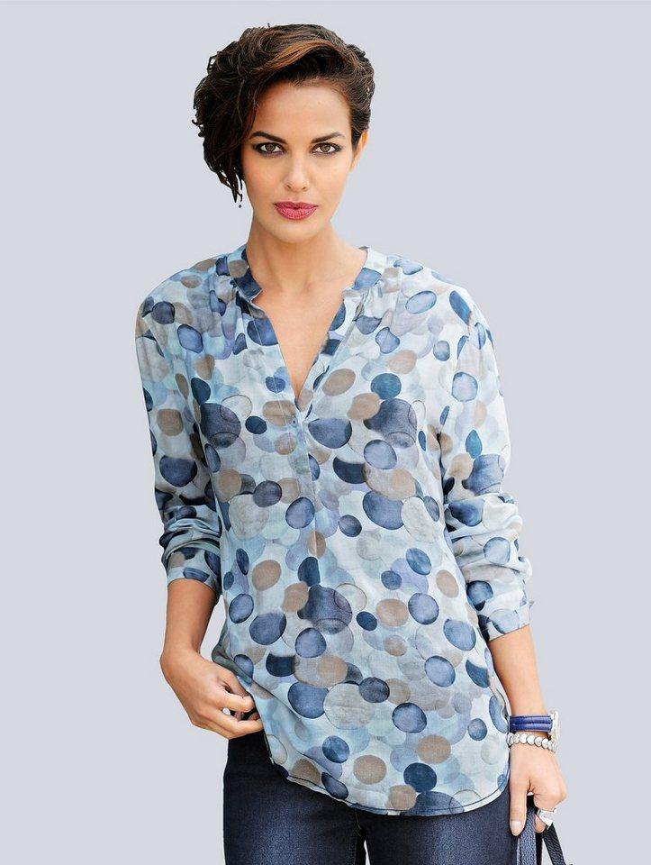 Alba Moda Tupfenbluse in bleu/navy