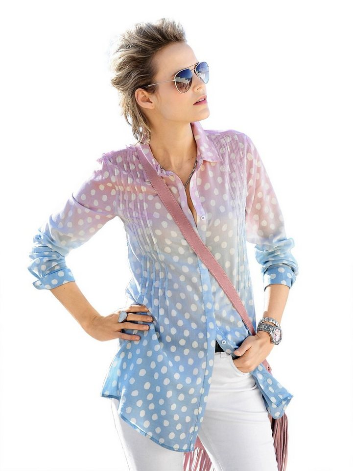 Alba Moda Longbluse in rosa/bleu