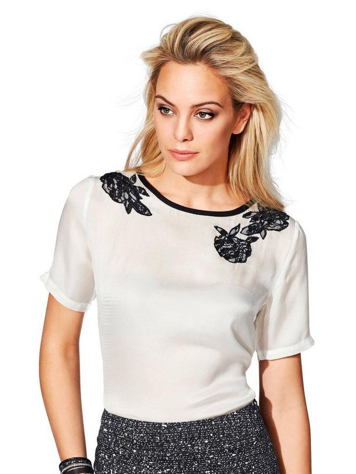 Alba Moda Rundhalshirt in weiß/schwarz