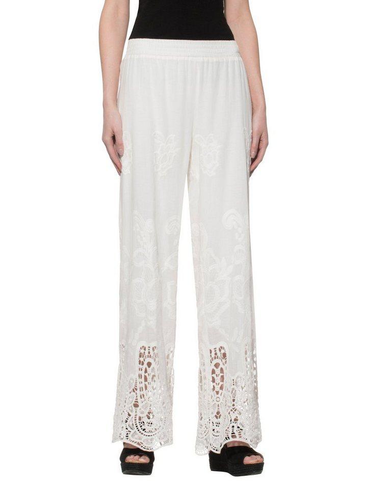 Alba Moda Hose mit aufwendiger Spitzenverzierung in weiß