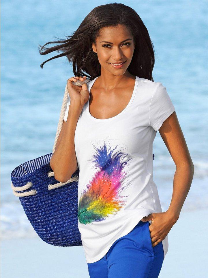 Alba Moda T-Shirt mit attraktivem Federndruck in Regenbogenfarben in weiß