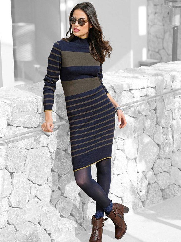 Alba Moda Strickkleid in marine/khaki