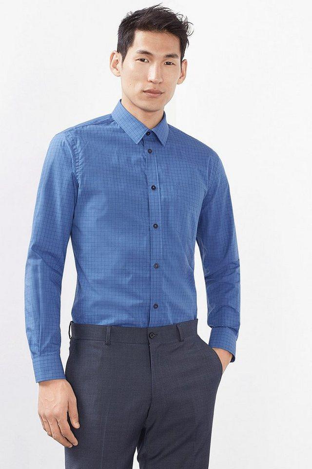 ESPRIT COLLECTION Hemd mit tonigem Karo, 100% Baumwolle in BLUE