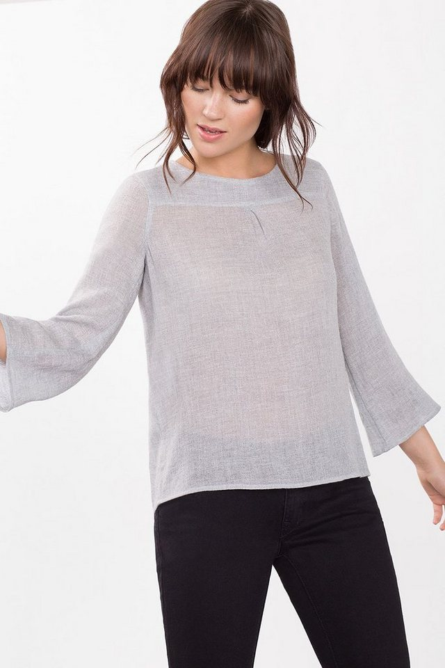 ESPRIT CASUAL Oversized-Bluse aus Woll-Mix in LIGHT GREY
