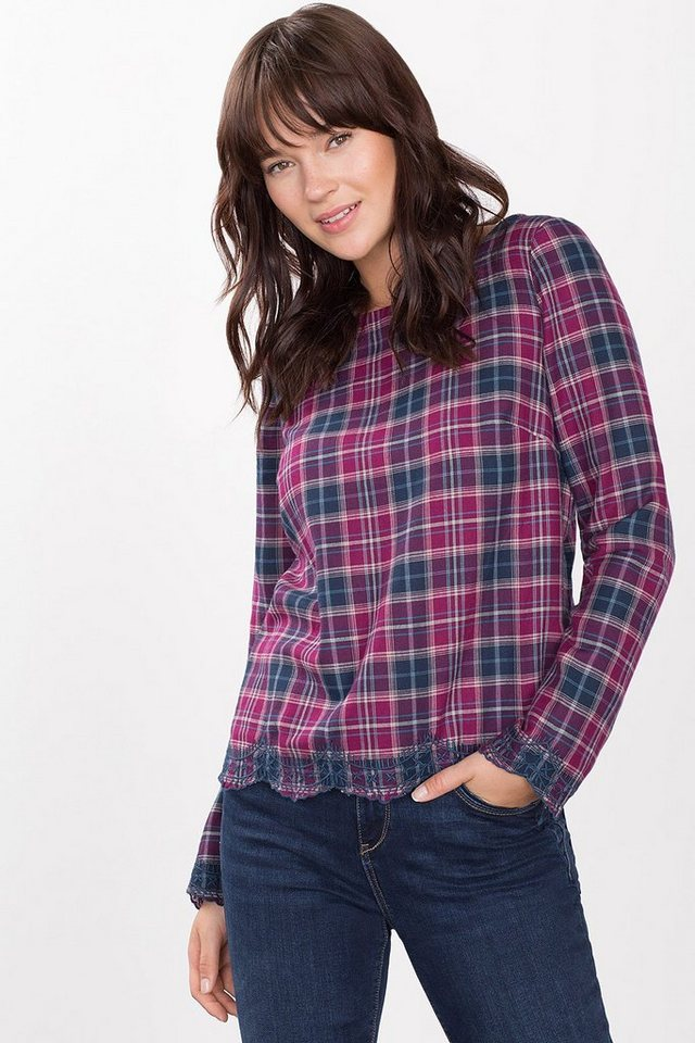 ESPRIT CASUAL Boxy-Bluse mit Stickerei, 100% Baumwolle in BORDEAUX RED