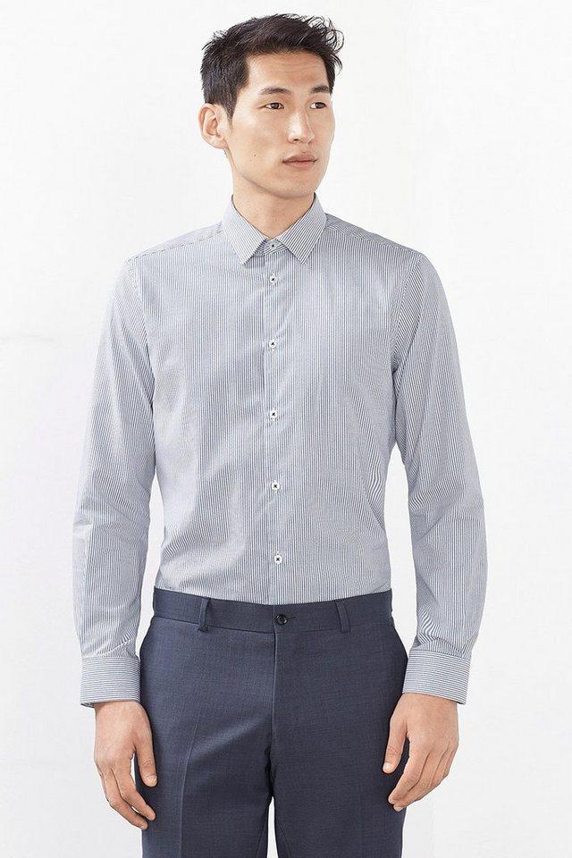 ESPRIT COLLECTION Hemd mit Crêpe Streifen, 100% Baumwolle in BLUE