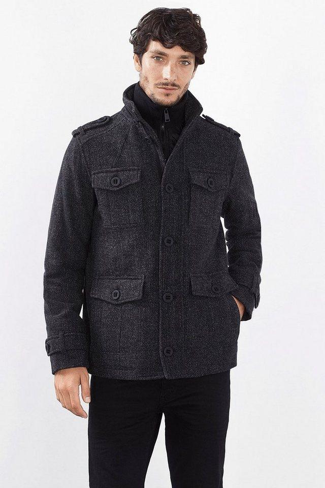 ESPRIT CASUAL Wattierte Woll-Mix Field Jacket mit Layering in DARK GREY
