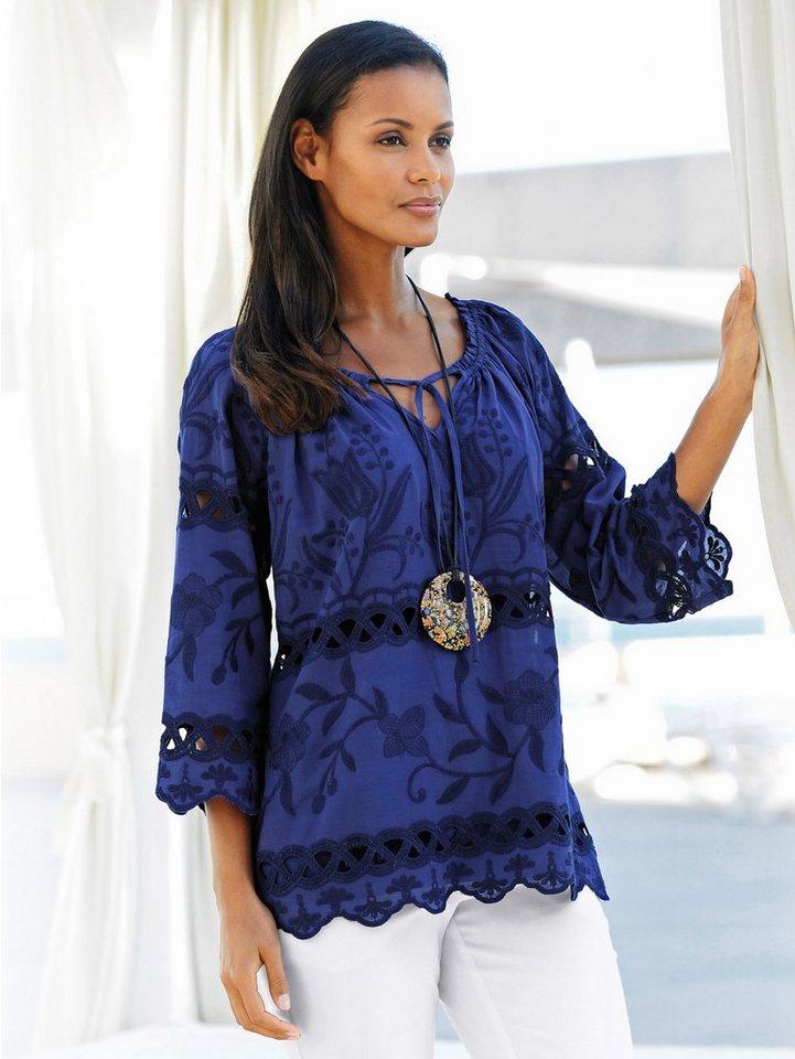 Alba Moda Tunikabluse aus hochwertiger Webware in royal