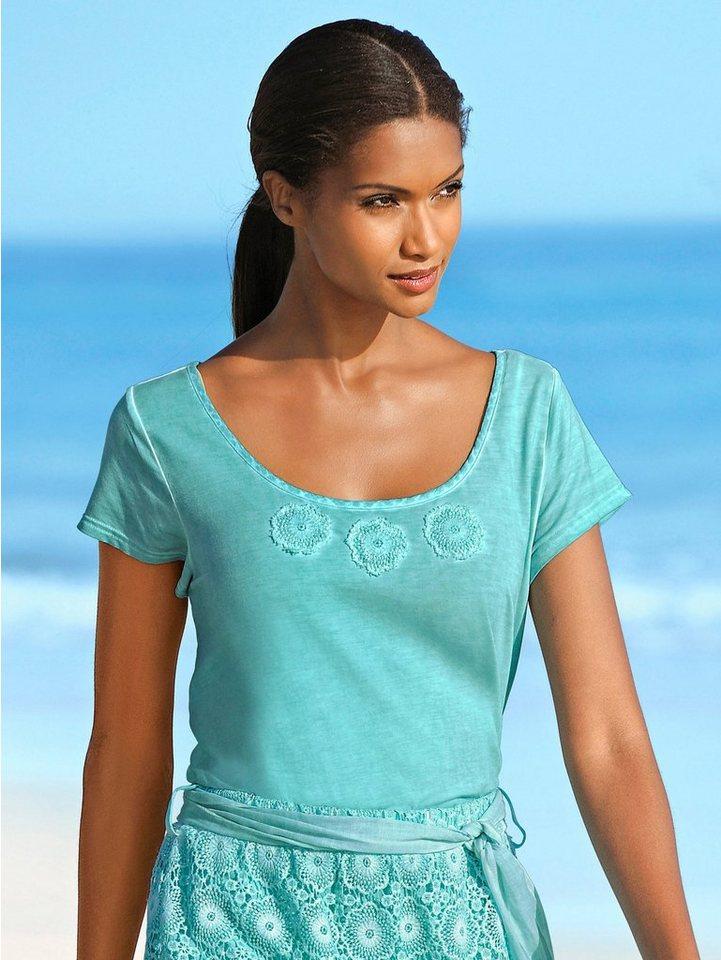 Alba Moda Shirt mit Ornamenten aus Spitze in türkis