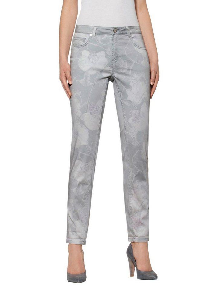 Alba Moda Druckhose in grau/weiß