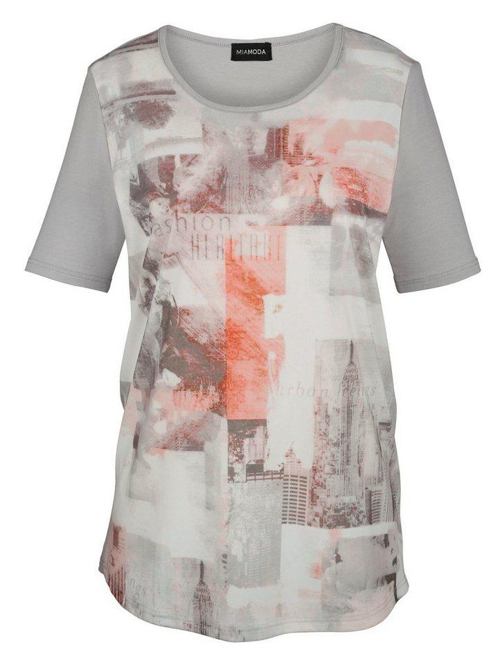 MIAMODA Druckshirt in grau/weiß