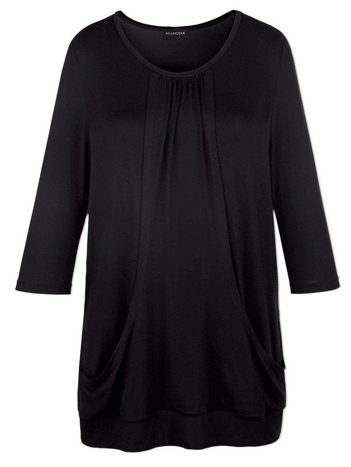 MIAMODA Longshirt mit Raffung am Ausschnitt in schwarz