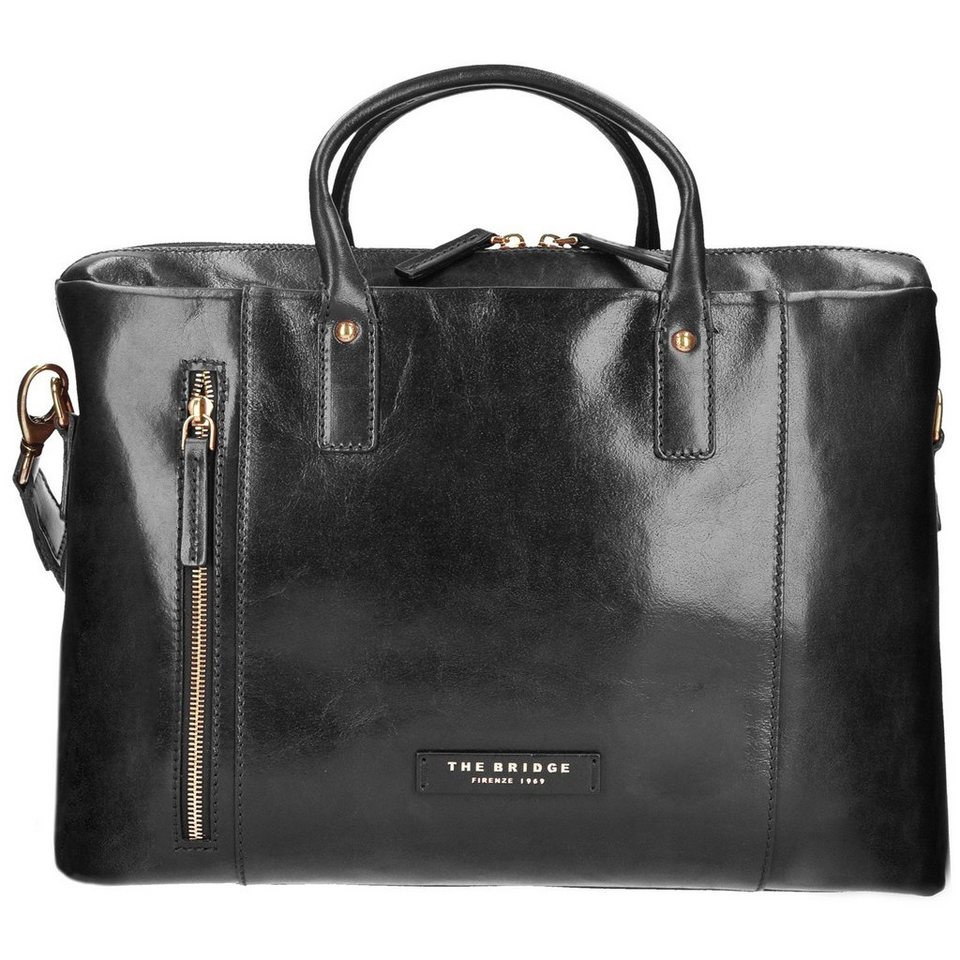 The Bridge Passpartout Donna Handtasche Leder 40 cm Laptopfach in nero-goldfarben