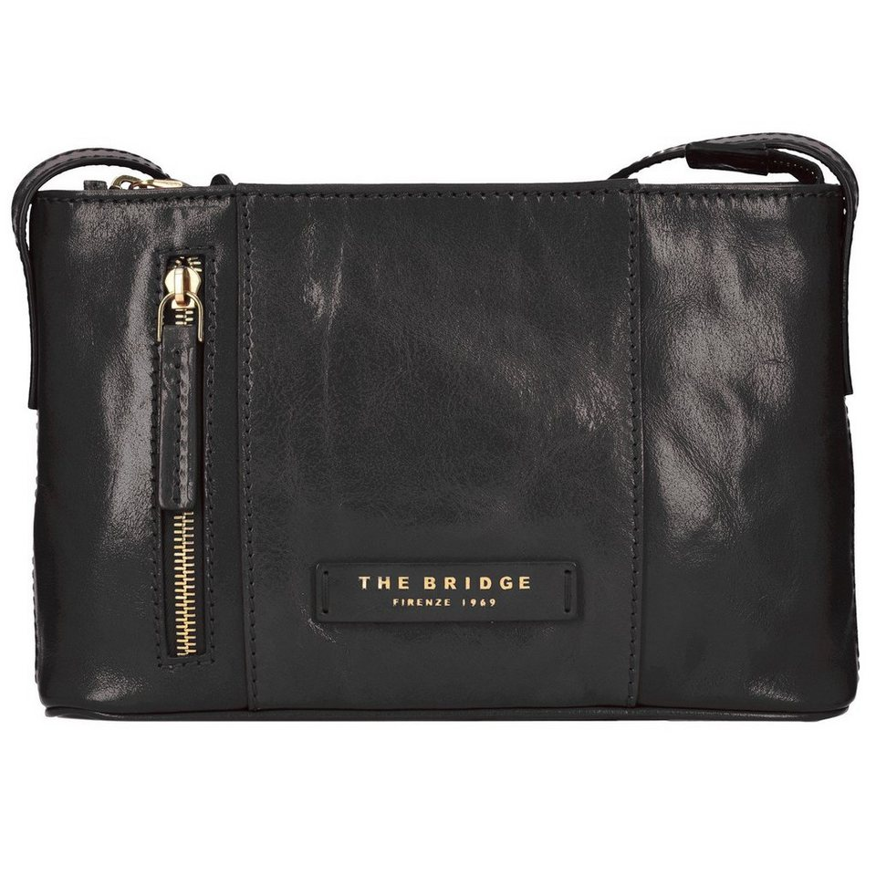 The Bridge Passpartout Donna Mini Bag Umhängetasche Leder 25 cm in nero-goldfarben