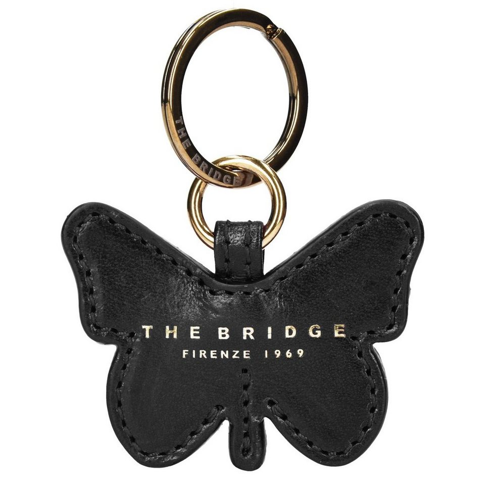 The Bridge Passpartout Donna Butterfly Schlüsselanhänger Leder 7 cm in nero-goldfarben