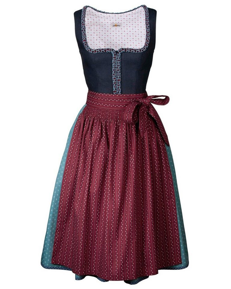 Almsach Langes Dirndl in Marine/Bordeaux