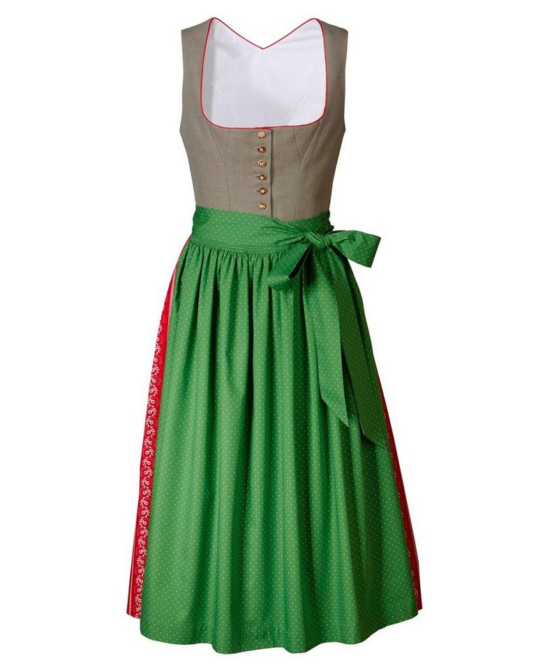 Reitmayer Langes Dirndl in Schilf/Grün/Rot