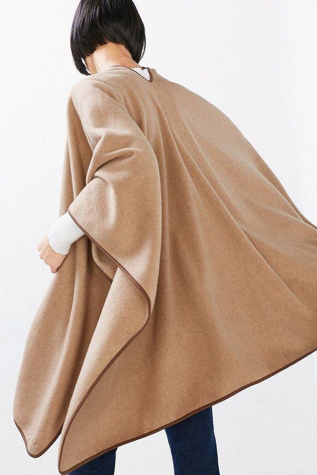 ESPRIT CASUAL Poncho aus weichem, leichtem Fleece in CAMEL