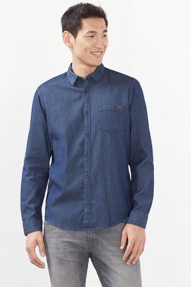 ESPRIT CASUAL Denim Hemd mit Struktur, 100% Baumwolle in NAVY