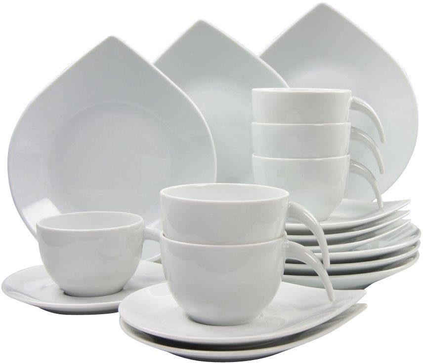 CreaTable Kaffeeservice, Porzellan, 18 Teile, »Drop«