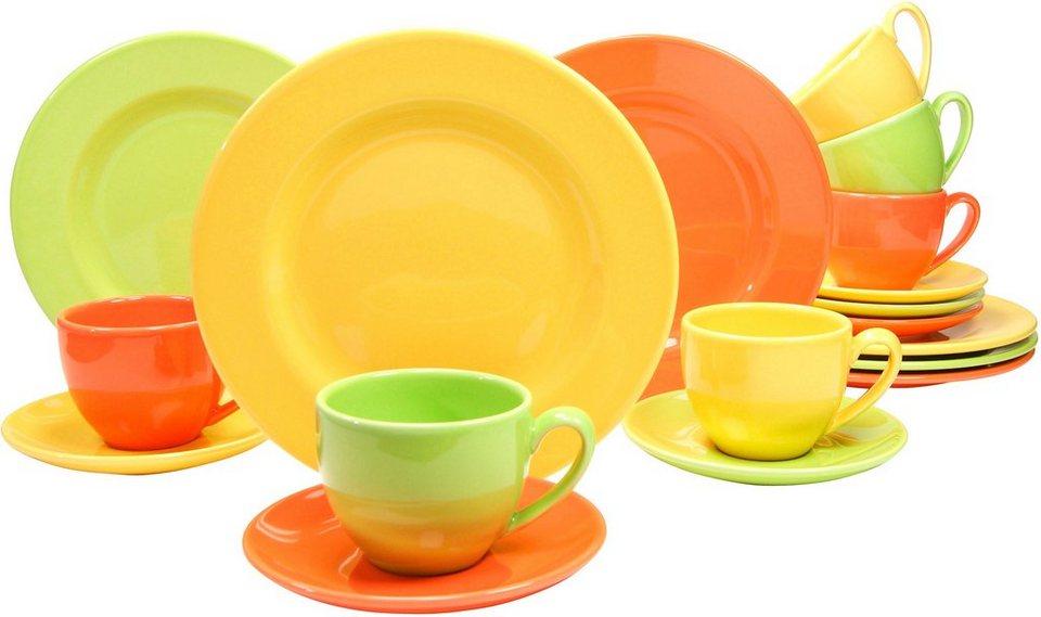 Steingut-Serie, »CASA ALEGRE« in Farbmix aus Orange, Gelb und Grün
