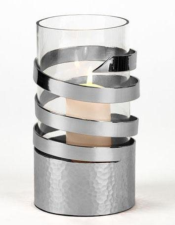 Lambert Spiral-Windlicht in zwei Größen in silber